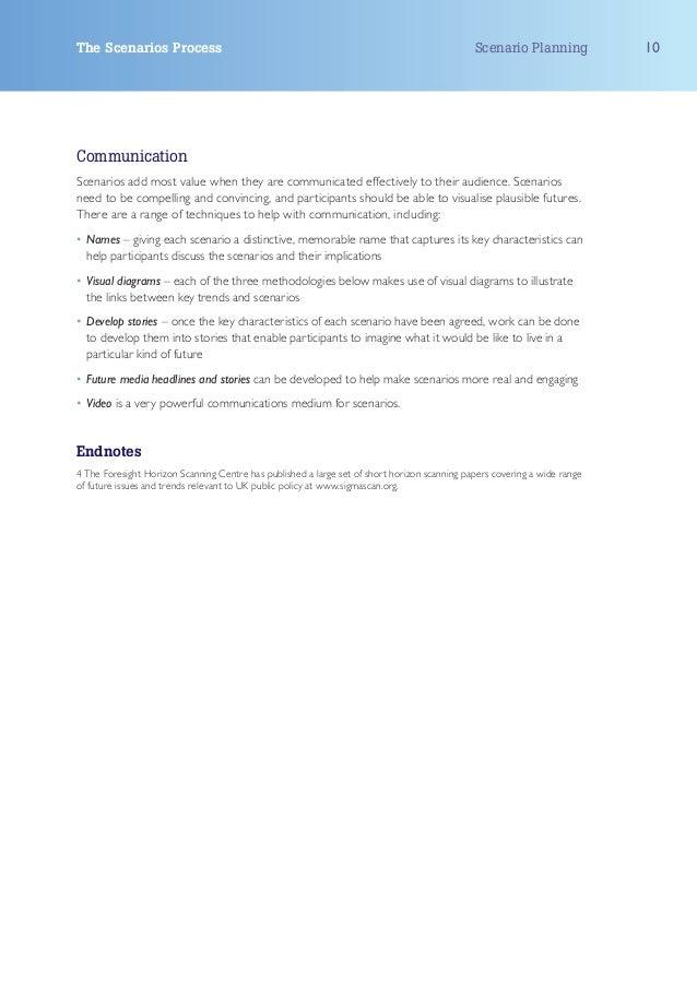 The Scenarios Process                                                                         Scenario Planning           ...