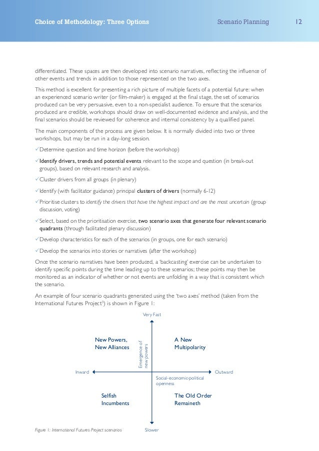 Choice of Methodology: Three Options                                                           Scenario Planning   12diffe...