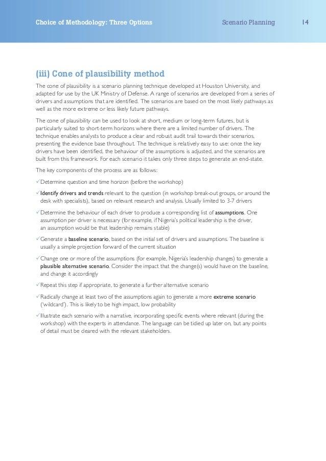Choice of Methodology: Three Options                                              Scenario Planning    14(iii) Cone of pla...