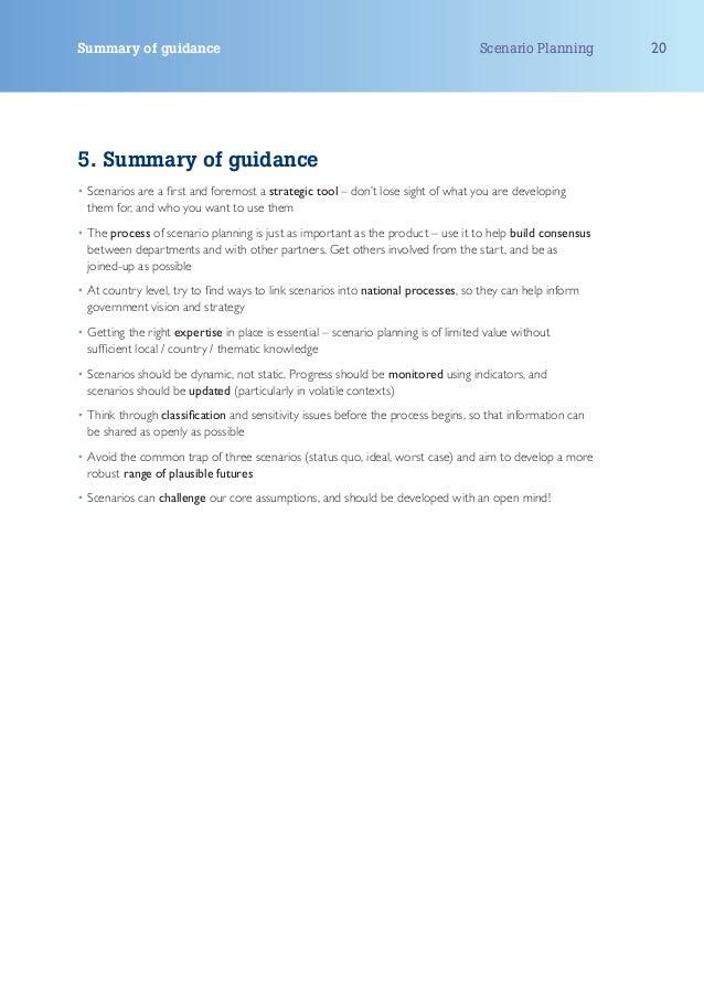 Summary of guidance                                                                 Scenario Planning      205. Summary of...