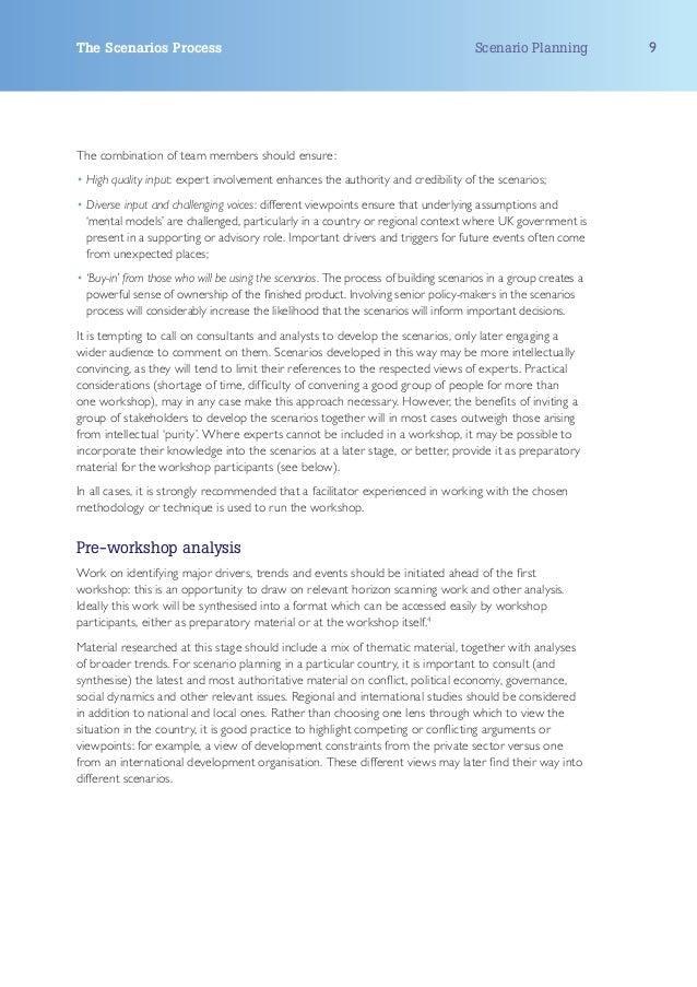 The Scenarios Process                                                                Scenario Planning          9The combi...