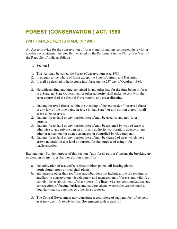 indian forest conservation act 1980