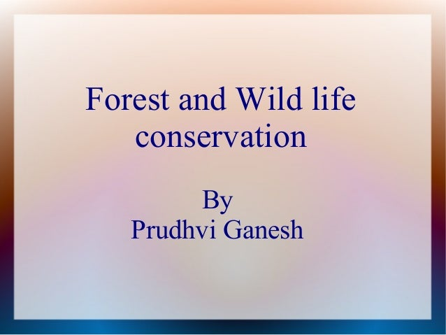 Forest and Wild life   conservation        By   Prudhvi Ganesh