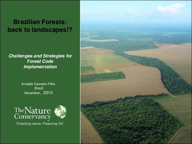 Brazilian Forests:! back to landscapes!?!    Challenges and Strategies for Forest Code! Implementation  Arnaldo Carneiro...