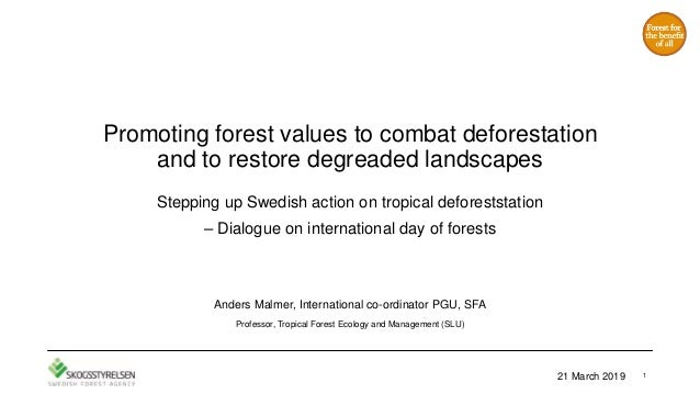Promoting forest values to combat deforestation and to restore degreaded landscapes Stepping up Swedish action on tropical...