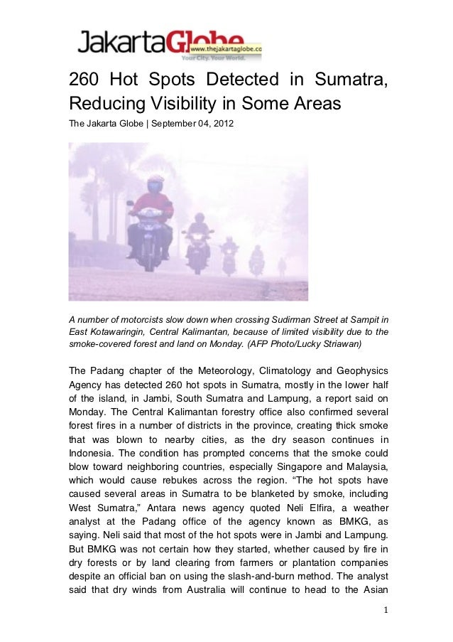 260 Hot Spots Detected in Sumatra,Reducing Visibility in Some Areas