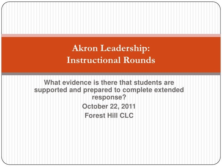 What evidence is there that students are supported and prepared to complete extended response?<br />October 22, 2011<br />...