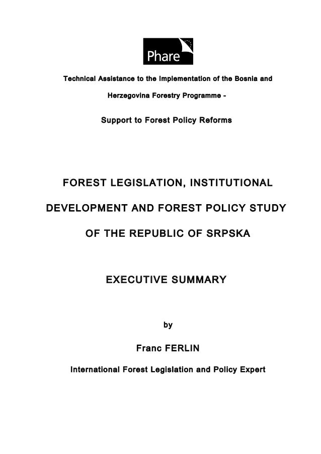 Technical Assistance to the Implementation of the Bosnia and              Herzegovina Forestry Programme -            Supp...