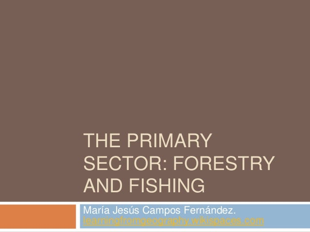 THE PRIMARY SECTOR: FORESTRY AND FISHING María Jesús Campos Fernández. learningfromgeography.wikispaces.com