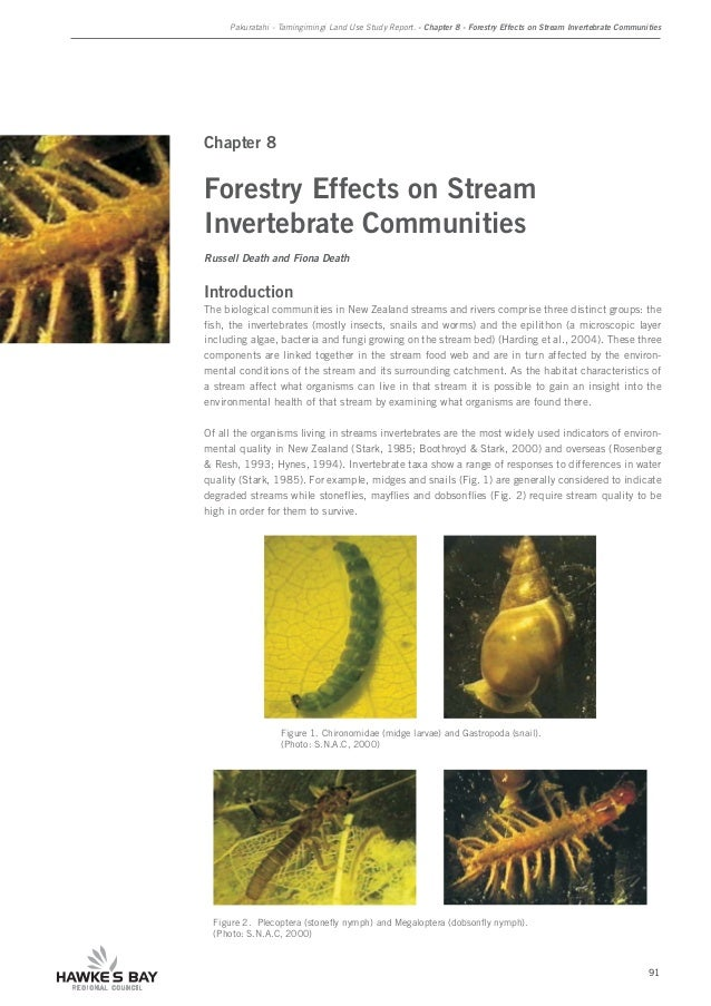 Pakuratahi - Tamingimingi Land Use Study Report. - Chapter 8 - Forestry Effects on Stream Invertebrate Communities 91 Chap...