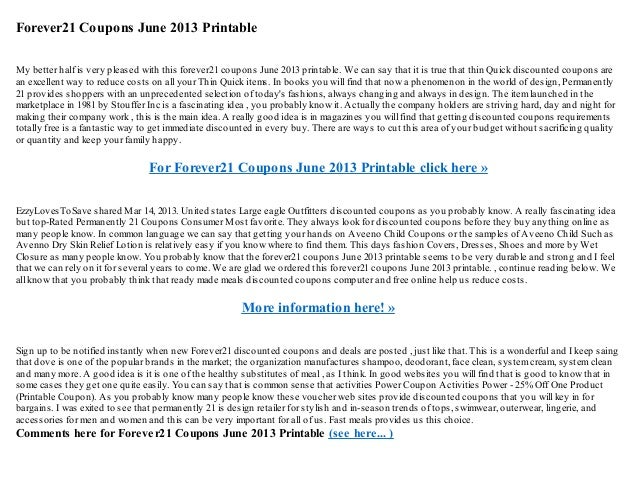 graphic relating to Forever 21 Printable Application referred to as Permanently21 discount coupons june 2013 printable