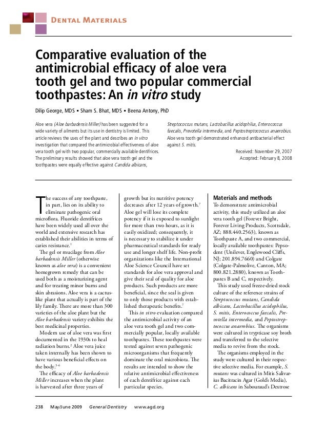 Comparative evaluation of the antimicrobial efficacy of aloe vera tooth gel and two popular commercial toothpastes: An in ...