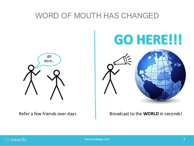 WORD OF MOUTH HAS CHANGED forewardsapp.com   3   Refer  a  few  friends  over  days     Broadcast  to...