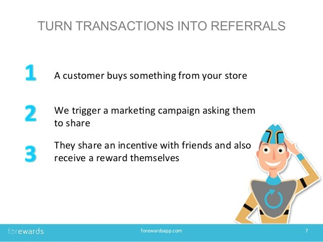 TURN TRANSACTIONS INTO REFERRALS forewardsapp.com   7   A  customer  buys  something  from  your  store  ...