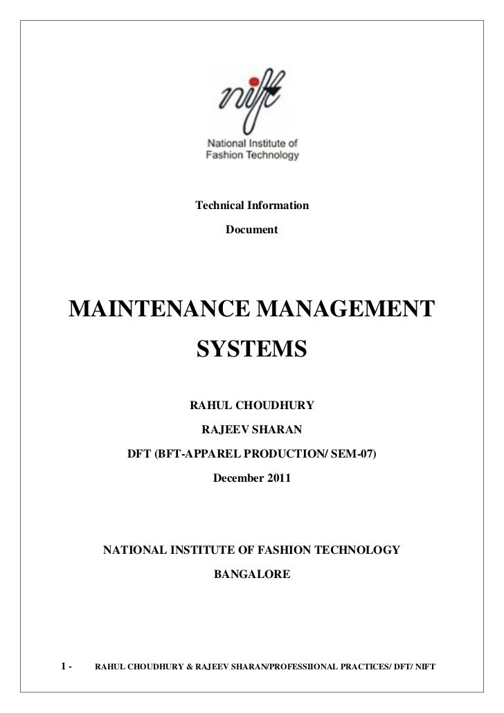 Technical Information                              Document MAINTENANCE MANAGEMENT                        SYSTEMS         ...