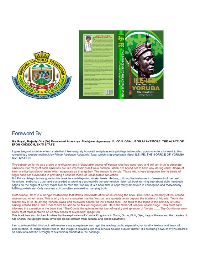 Foreword By His Royal, Majesty Oba (Dr) Emmanuel Adesanya Aladejare, Agunsoye 11, CON, OBALUFON ALAYEMORE, THE ALAYE OF EF...