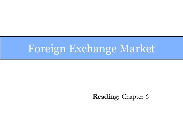 Foreign Exchange Market Reading: Chapter 6