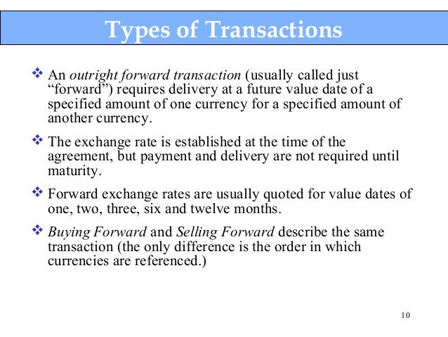 Types of transactions in forex