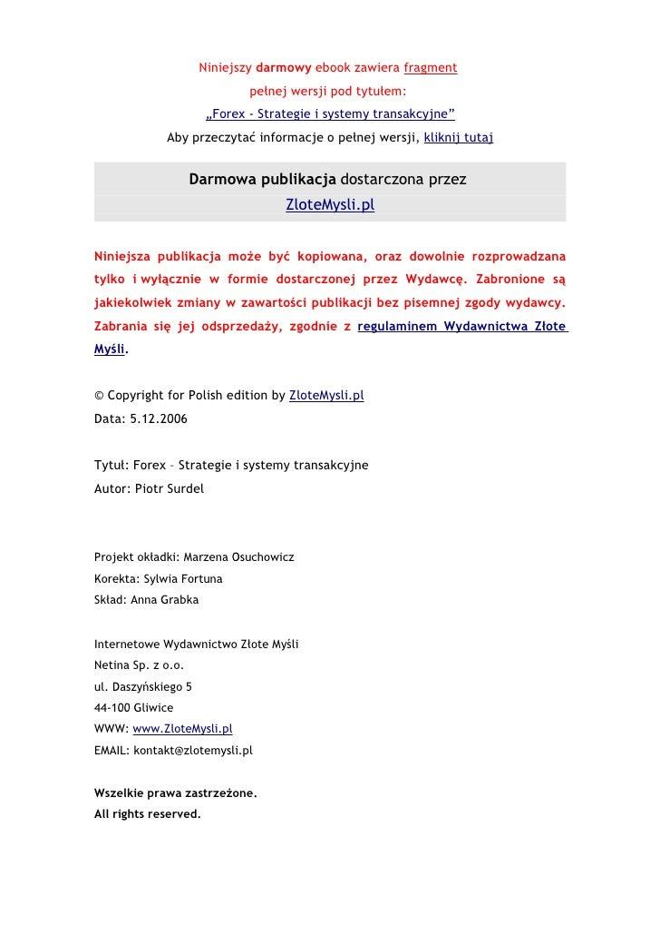 Forex 3. strategie i systemy transakcyjne chomikuj