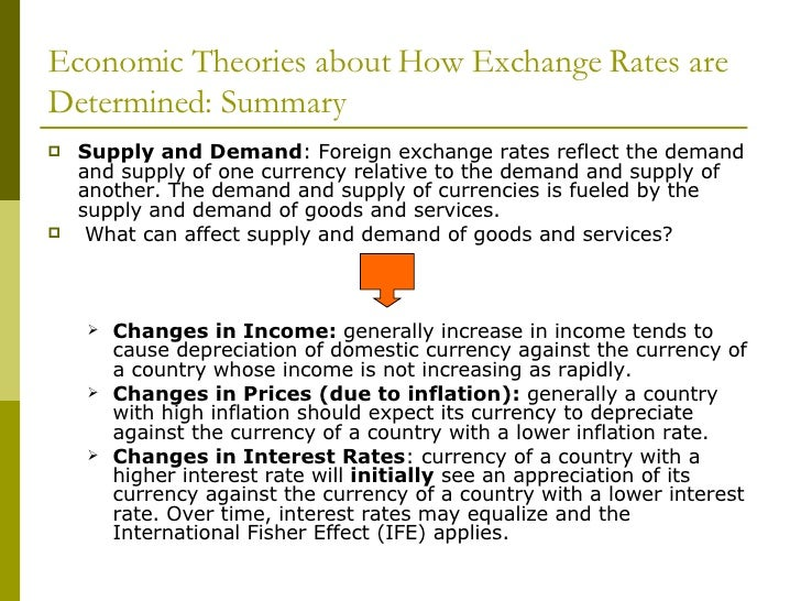 Economic Theories about How Exchange Rates are Determined: Summary     Supply and Demand: Foreign exchange rates reflect t...