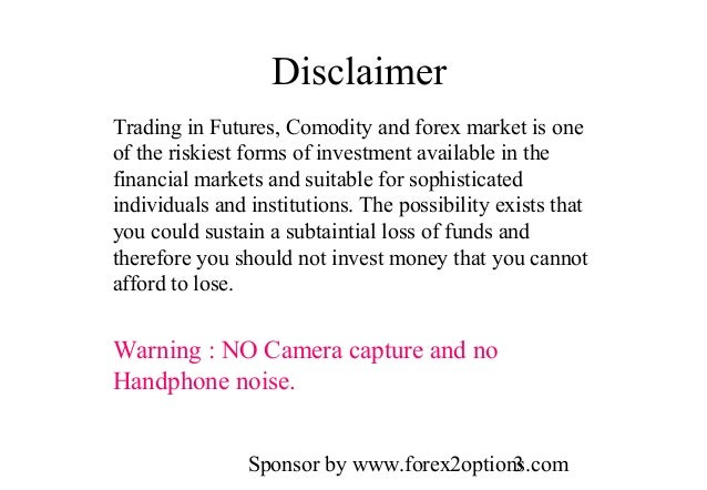 Forex risk disclaimer