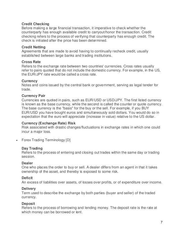 Forex trading terminologies