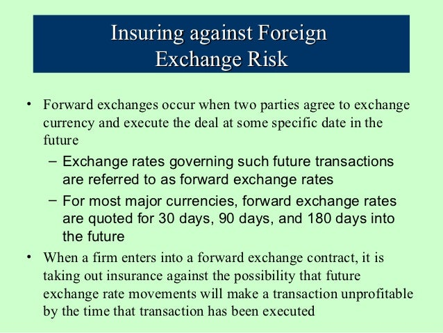 what is forward exchange rate and what role do they play in insuring against foreign exchange risk