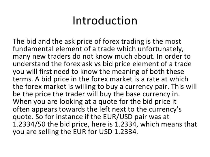 Bid vs ask forex