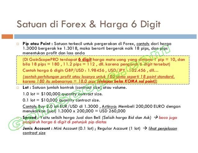 Satuan di Forex & Harga 6 Digit Pip atau Point : Satuan terkecil untuk pergerakan di Forex, contoh: dari harga 1.3000 berg...
