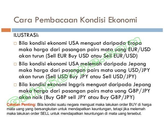 Cara Pembacaan Kondisi Ekonomi ILUSTRASI: Bila kondisi ekonomi USA menguat daripada Eropa maka harga dari pasangan pairs m...
