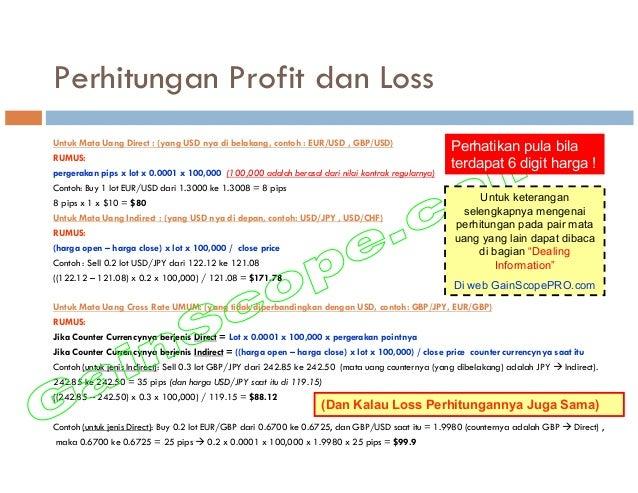 Perhitungan Profit dan Loss Untuk Mata Uang Direct : (yang USD nya di belakang, contoh : EUR/USD , GBP/USD) RUMUS: pergera...