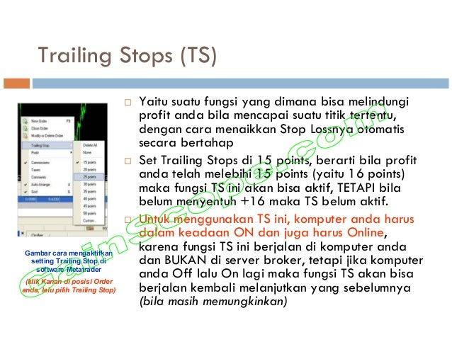Trailing Stops (TS) Yaitu suatu fungsi yang dimana bisa melindungi profit anda bila mencapai suatu titik tertentu, dengan ...