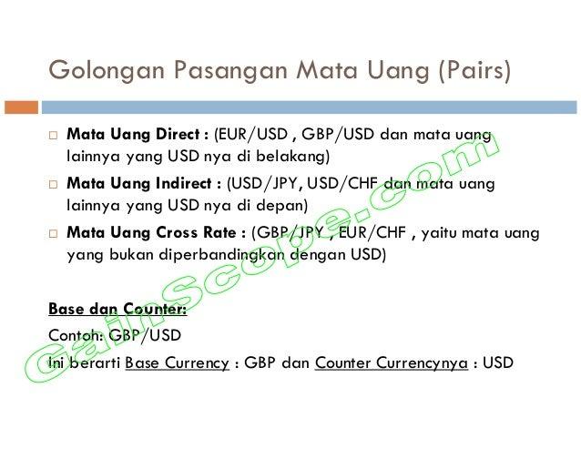 Golongan Pasangan Mata Uang (Pairs) Mata Uang Direct : (EUR/USD , GBP/USD dan mata uang lainnya yang USD nya di belakang) ...