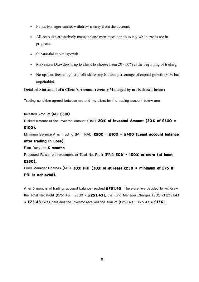Forex investment proposal