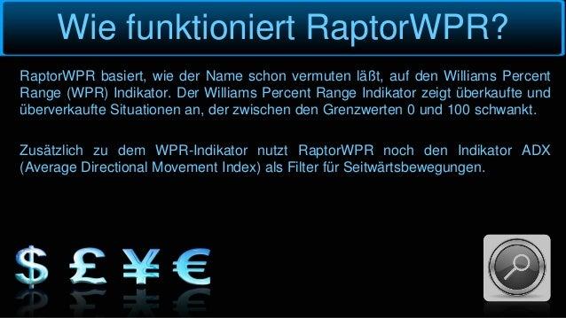 Wie funktioniert RaptorWPR? RaptorWPR basiert, wie der Name schon vermuten läßt, auf den Williams Percent Range (WPR) Indi...