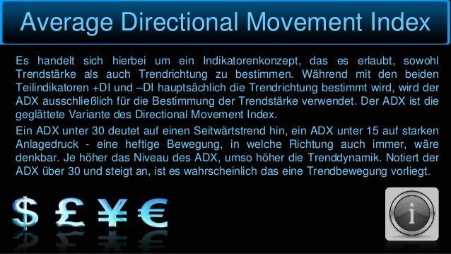 Average Directional Movement Index Es handelt sich hierbei um ein Indikatorenkonzept, das es erlaubt, sowohl Trendstärke a...