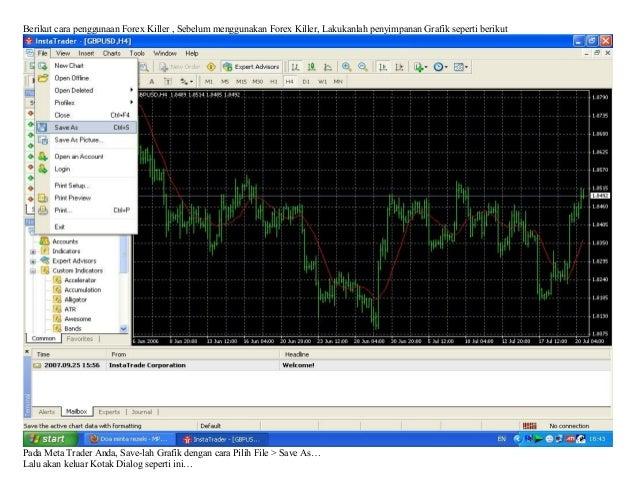 Berikut cara penggunaan Forex Killer , Sebelum menggunakan Forex Killer, Lakukanlah penyimpanan Grafik seperti berikutPada...