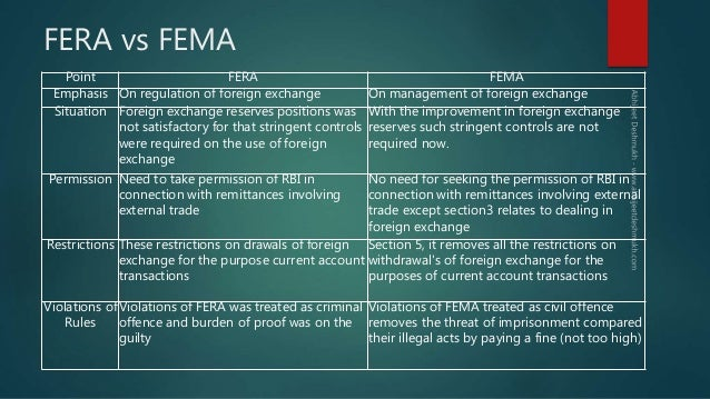 fema fera The basic difference fera and fema is that fera came into force, when the  foreign exchange reserve position in the country wasn't good.