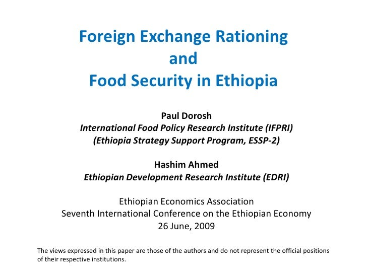 Foreign Exchange Rationing                          and                Food Security in Ethiopia                          ...