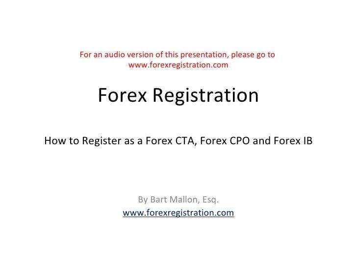 Forex registration