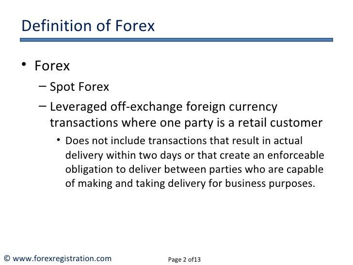 Retail forex definition