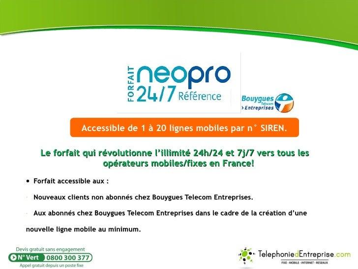 Forfait mobile Neo Pro 24/24 Référence illimité 24h24