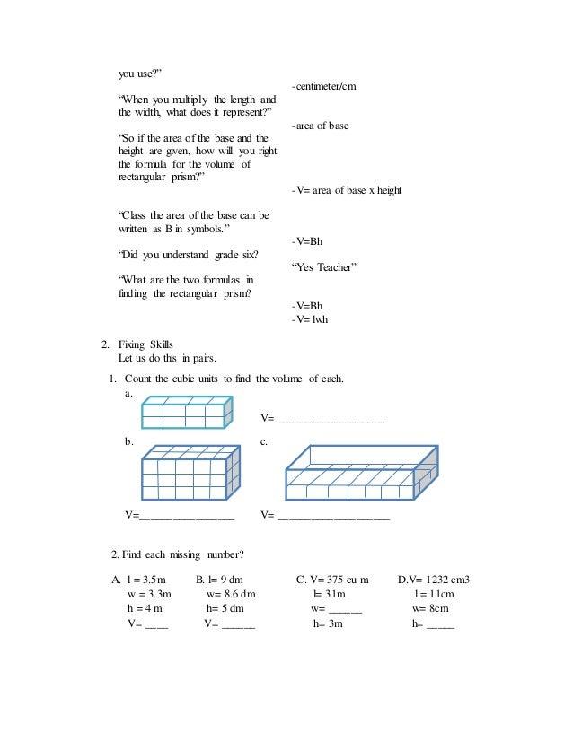 A Detailed Lesson Plan In Mathematics Vivolume Of Rectangular Prism