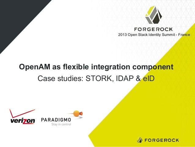 2013 Open Stack Identity Summit - France  OpenAM as flexible integration component Case studies: STORK, IDAP & eID