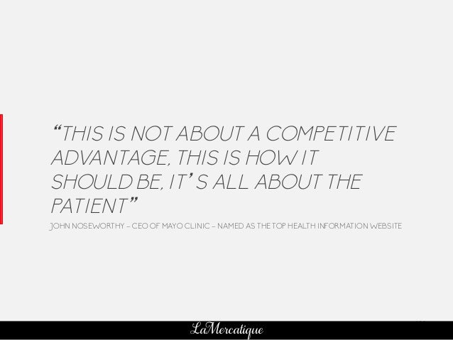 "102 LaMercatique ""THIS IS NOT ABOUT A COMPETITIVE ADVANTAGE, THIS IS HOW IT SHOULD BE, IT'S ALL ABOUT THE PATIENT"" JOHN NO..."