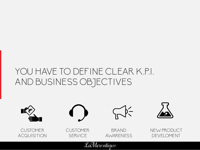 81 LaMercatique YOU HAVE TO DEFINE CLEAR K.P.I. AND BUSINESS OBJECTIVES CUSTOMER ACQUISITION CUSTOMER SERVICE BRAND AWAREN...