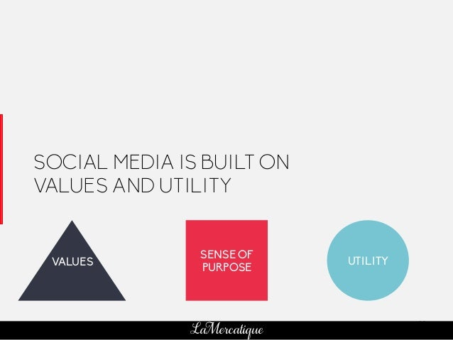 83 LaMercatique SOCIAL MEDIA IS BUILT ON VALUES AND UTILITY SENSE OF PURPOSE UTILITYVALUES