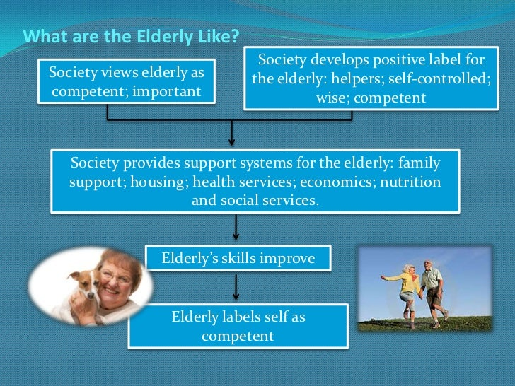 What are the Elderly Like?                                   Society develops positive label for   Society views elderly a...