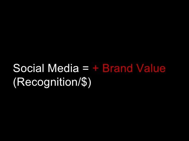 Social Media =  + Brand Value  (Recognition/$)
