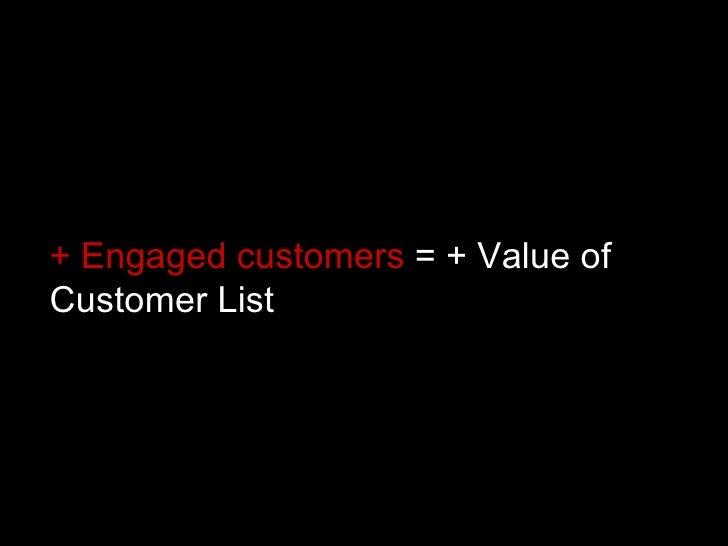 + Engaged customers  = + Value of Customer List